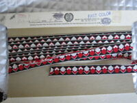 "VTG Black Red White Diamond Pattern Woven Cotton Rayon Ribbon 3/4"" W x 4 3/4+ Yd"