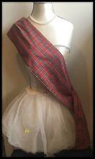Royal Stewart Tartan Sash Scarf Rosette Burns Night Scottish Wedding Red Dress