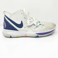 Nike Boys Kyrie Lrving AQ2456-101 White Blue Basketball Shoes Lace Up Size 6.5 Y
