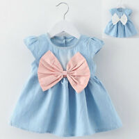 Toddler Baby Girls Casual Dress Bowknot Child Dresses Denim Clothes Party Dress