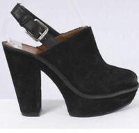 Michael Kors Quincy Black Suede Platform Mules Heels Shoes Sz 9 Excellent