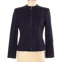 AGB Blazer Purple Black Houndstooth Zip Front Size 8 (Petite)