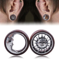 1Pair Sun&Moon Ear Saddle Tunnels Flesh Earrings Gauges Piercing Expa RAC