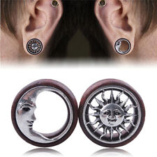 1Pair Sun&Moon Ear Saddle Tunnels Flesh Earrings Gauges Piercing Expander PlugsR