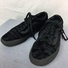 Used Vans Black Velvet Lace Up Skate Sneakers Shoes Mens sz 7.5 Womens sz 9