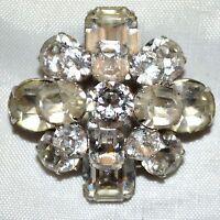 Vintage Coro Emerald Cut & Round Cut White Rhinestone Dome Shaped Pin