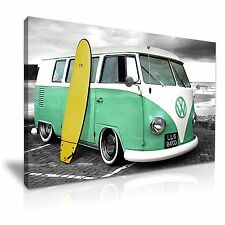 VW Retro Camper Van With Surfing Board Canvas Wall Art Picture Print 76x50cm