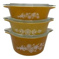 Pyrex Gold Butterflies Gold Set Of 3 Casserole Dish w/lids  2 X 471-B 473-B