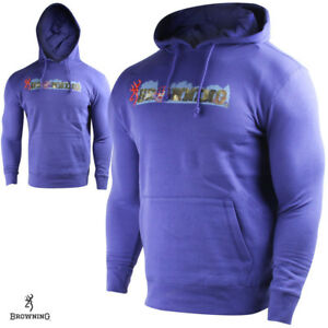 Browning YOUTH MEDIUM Burke Sweatshirt Ultramarine Blue Mossy Oak Camo Logo Boys