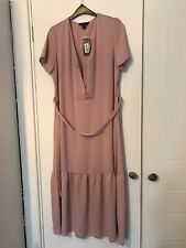 BNWT Primark Peplum Midi Dress Blush Pink 14