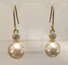 Pearl & Cubic Swarovski Crystal Gold Earrings Bridesmaids Wedding Formal Gift