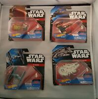 Lot of 4 Disney Mattel  Hot Wheels Star Wars Die Cast Ship Falcon Speeder & more