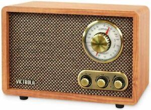 Victrola Retro Wood Bluetooth FM/AM Radio with Rotary Dial, Walnut