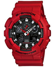 CASIO GA-100B-4A G-SHOCK Ana-Digi Resin Strap Red