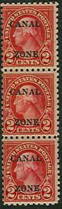 CANAL ZONE #97, 2¢ carmine, og, NH, strip of 3, light pencil mark,