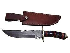 "Pioneer Damascus Steel Hunting Knife Brass Guard 12.5"" Pt-350"