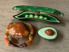 Lot 3 Vtg Limoges Trinket Box:Pea Pod/Rockard, Crab/Elda, Avocado/R.M., France