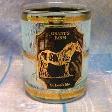 "Grants Farm St Louis Gold Black Culver Low Ball Rocks Glass Barware Souvenir 4"""