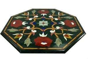 """24"""" green marble Table Top floral inlaid semi precious stones handcrafted work"""