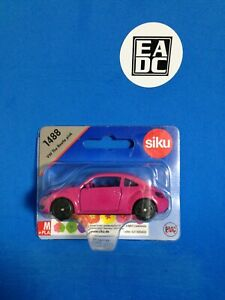 SIKU 1488 VW THE BEETLE PINK WITH POPPY STICKERS INSIDE DIECAST 1:64