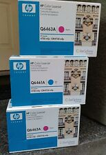 3 NEW Genuine HP Q6463A Magenta Q6461A Cyan 644A Toners Lot OEM Original