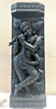 Hindu God Krishna Wooden Wall Panel Statue Sculpture Hand carved Home Decor Rare