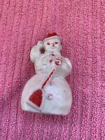 "Vintage Celluloid Plastic SNOWMAN Christmas Ornament Red Hat & Broom 3"" RARE"