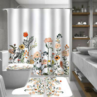 Floral Shower Curtain Set Bathroom Rugs Thick Bath Mat Non-Slip Toilet Lid Cover