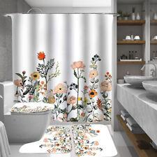 Floral Shower Curtain Set Bathroom Rugs Thick Bath Mat Non-Slip Toilet Lid Cover