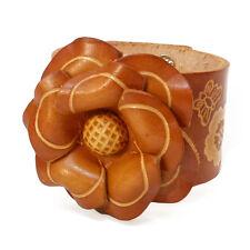 Bracelet femme vrai cuir Réglable large fleur marron orangé liseré motifs beige