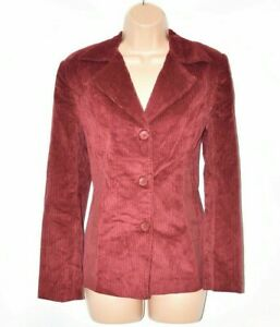 Women's Vintage JIEQIONG Fitted Red Corduroy Blazer Jacket Size L