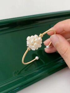 "Beautiful 7.5-8"" AAA real natural Akoya white Baroque pearl Bracelet 14K Gold"