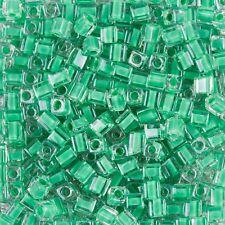 Miyuki foderati di colore verde 4 mm Square (Cubo) VETRO Seme Perline TUBO 20 G (B87/6)