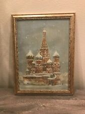 Vintage Original Oil Painting of St Basil's Cathedral in Moscow.