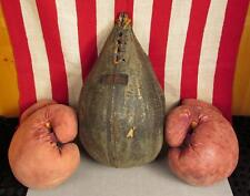 Vintage Scully Bros. Leather Boxing Punching Speed Bag Los Angeles Wilson Gloves