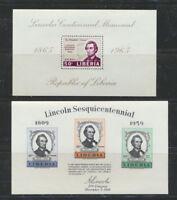 Abraham Lincoln Set of 2 Mint NH Liberia Souvenir Sheets  $4.25 Retail Value
