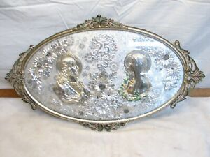 Vintage Foil Mary Jesus Religious Art Floral 25th Anniversary 3D Domed Framed