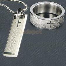 Men's Stainless Steel Cross Bible Charm Necklace Pendant + Ring US Size 10 #