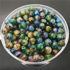 30X 8mm Colored Glass Pearl Round Spacer Loose Beads For DIY Jewelry Making
