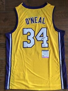 Shaquille O'Neal Autographed Gold Lakers Jersey Signed PSA/DNA ITP COA