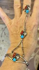 Vintage Slave Bracelet Silver Turquoise Coral Navajo? Unmarked
