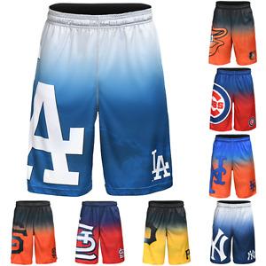 MLB Baseball Mens Gradient Big Logo Training Shorts - Choose Team
