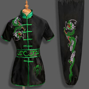 Kung Fu Tai Chi Uniform Martial Arts Suit Outfit Adults Kids Dragon Embroidery