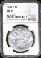 1884-O Morgan NGC MS-63 Silver Dollar Coin New Orleans Mint Mostly White Luster