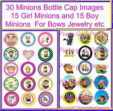 "30 Precut Minions Boy & Minions Girl 1"" Bottle Cap Images For Cup cake Toppers"