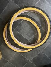 Black amber wall bmx tyres old school raleigh comp 3 style