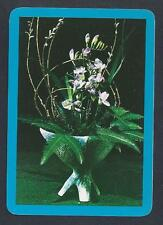 #915.605 vintage WIDE swap card -NEAR MINT- Flower arrangement with blue border
