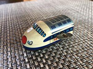 Vintage 1970s Japanese Wind Up Tin Litho Toy Bullet Train