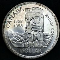 """1958 CANADA """"BRITISH COLUMBIA"""" SILVER DOLLAR HIGH QUALITY COLOR TONED COIN #2"""