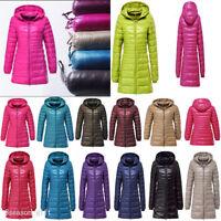 Women's Winter Ultralight 90% Down Slim Thin Hooded Jacket Puffer Coat Plus Size